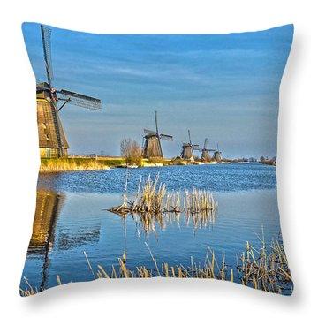 Five Windmills At Kinderdijk Throw Pillow