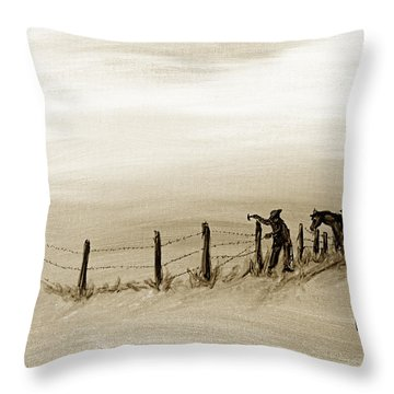 Fix On The Prairie Throw Pillow