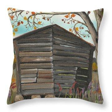Autumn - Shack - Woodshed Throw Pillow