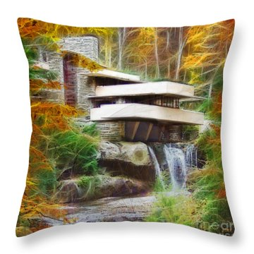 Fixer Upper - Square Version - Frank Lloyd Wright's Fallingwater Throw Pillow