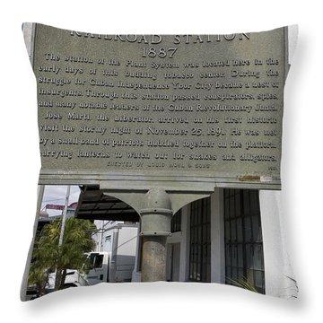 Fl-1020 Site Of First Ybor City Railroad Station 1887 Throw Pillow by Jason O Watson