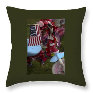 Throw Pillow featuring the photograph Flag Bike by Patrice Zinck