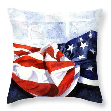 Flag In  The Window Throw Pillow by Suzy Pal Powell