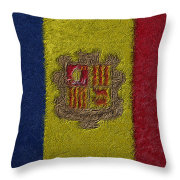 Flag Of Andorra Throw Pillow