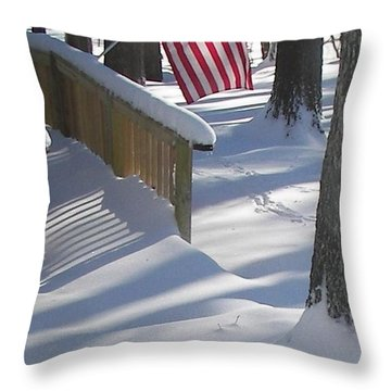 Flag Over Morning Snow Throw Pillow by Pamela Hyde Wilson
