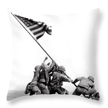 Flag Raising At Iwo Jima Throw Pillow