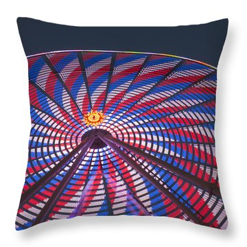Throw Pillow featuring the photograph Flag Wheel by Darleen Stry