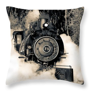 Flagg Coal Steam Engine Blow Out Throw Pillow by Michael White