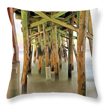 Flagler Beach Pier Throw Pillow by Marion Johnson