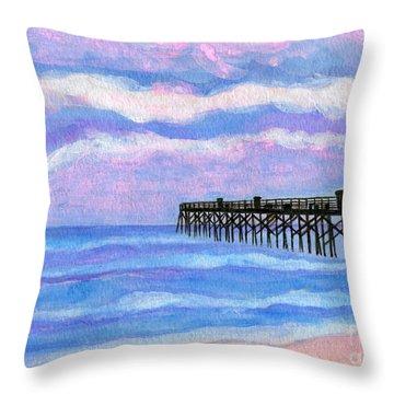 Flagler Beach Pier Throw Pillow