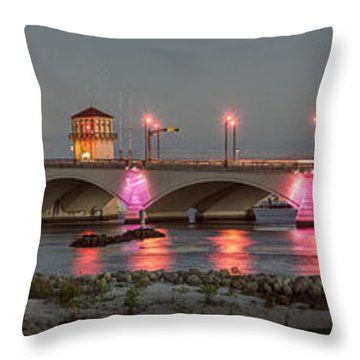 Flagler Bridge In Pink Throw Pillow