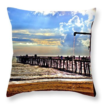 Throw Pillow featuring the photograph Flagler Pier Heaven by Tyson Kinnison