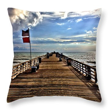 Flagler Pier Throw Pillow
