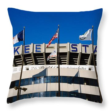 Flags In Front Of A Stadium, Yankee Throw Pillow