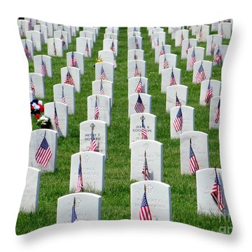 Throw Pillow featuring the photograph Flags Of Honor by Ed Weidman