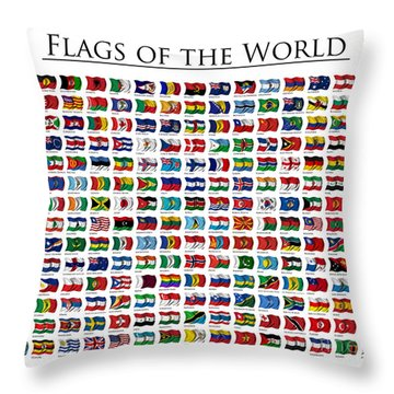 Flags Of The World Throw Pillow