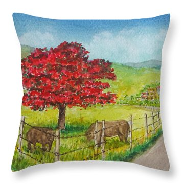 Flamboyan And Cows In Western Puerto Rico Throw Pillow