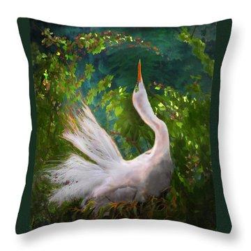 Flamboyant Egret Throw Pillow by Melinda Hughes-Berland