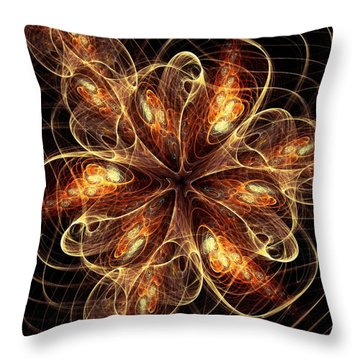 Flame Flower Throw Pillow by Anastasiya Malakhova