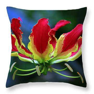 Flame Lily II Throw Pillow by Larry Nieland