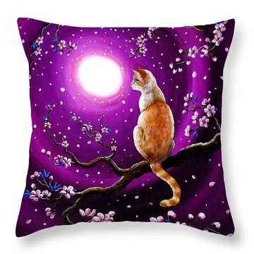 Flame Point Siamese Cat In Dancing Cherry Blossoms Throw Pillow by Laura Iverson
