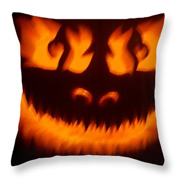 Throw Pillow featuring the sculpture Flame Pumpkin by Shawn Dall