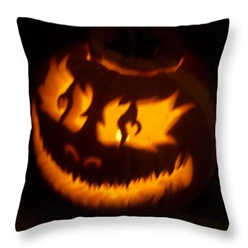 Throw Pillow featuring the sculpture Flame Pumpkin Side by Shawn Dall