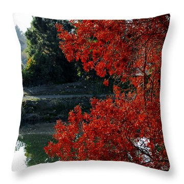 Flame Red Tree Throw Pillow