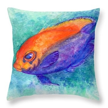 Throw Pillow featuring the painting Flameback Angelfish by Ashley Kujan