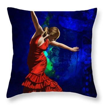Flamenco Dancer 014 Throw Pillow by Catf