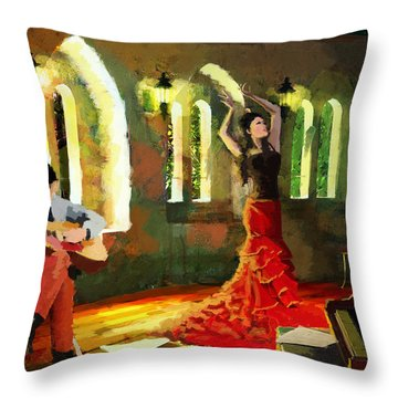 Flamenco Dancer 017 Throw Pillow by Catf