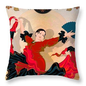 Flamenco Dancer Throw Pillow by Bedros Awak