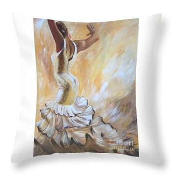 Flamenco Dancer In White Dress Throw Pillow