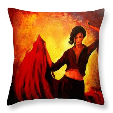 Flamenco Dancer Throw Pillow