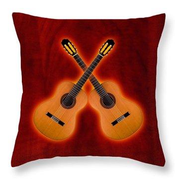 Flamenco  Guitar  Throw Pillow by Doron Mafdoos