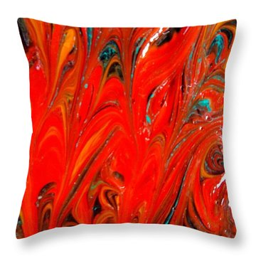 Throw Pillow featuring the painting Flames by Carolyn Repka