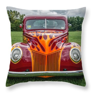 Flames Throw Pillow by Guy Whiteley