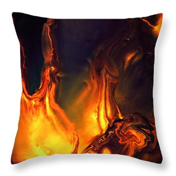Flames Of Love - Liquid Abstract Art By Kredart Throw Pillow
