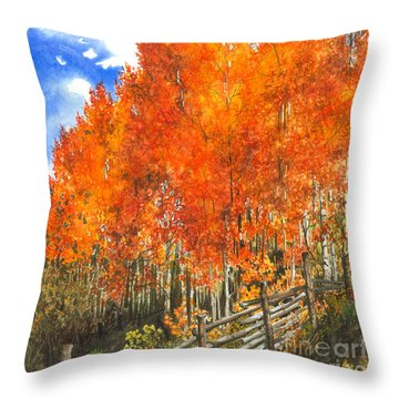 Flaming Aspens Throw Pillow by Barbara Jewell