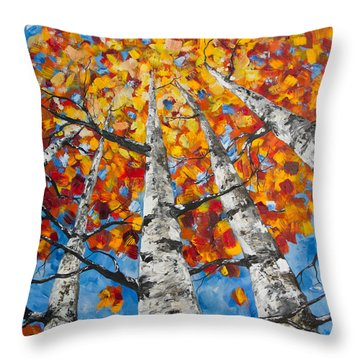 Flaming Aspens Throw Pillow