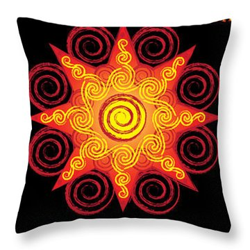 Flaming Celtic Sun Throw Pillow