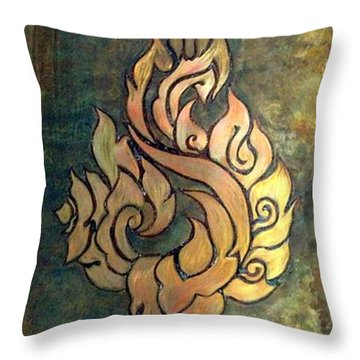 Flaming Dragon Rose Panel Throw Pillow