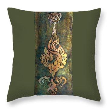 Flaming Dragon Rose Panel Throw Pillow