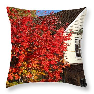 Throw Pillow featuring the photograph Flaming Fall Colours On Farm House by Nina Silver