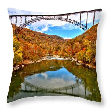 Flaming Fall Foliage At New River Gorge Throw Pillow by Adam Jewell