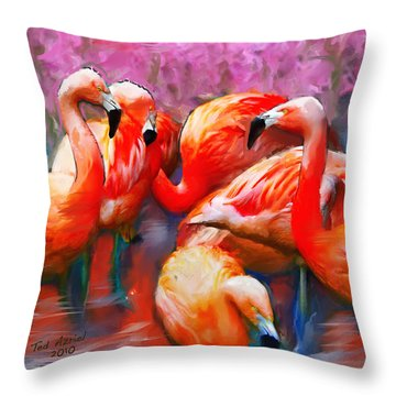 Flaming Flamingos Throw Pillow