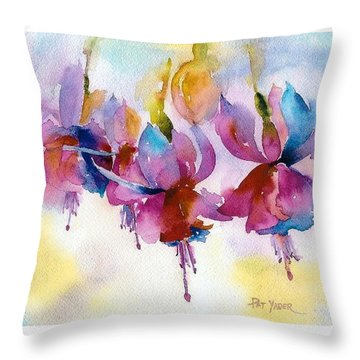 Flaming Fuchsias Throw Pillow by Pat Yager