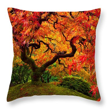 Flaming Maple Throw Pillow
