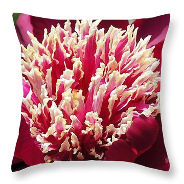 Flaming Peony Throw Pillow