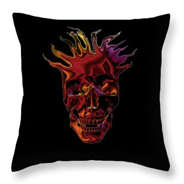Throw Pillow featuring the digital art Flaming Skull by Denise Beverly